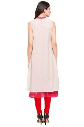 Womens Band Neck Slub Kurta