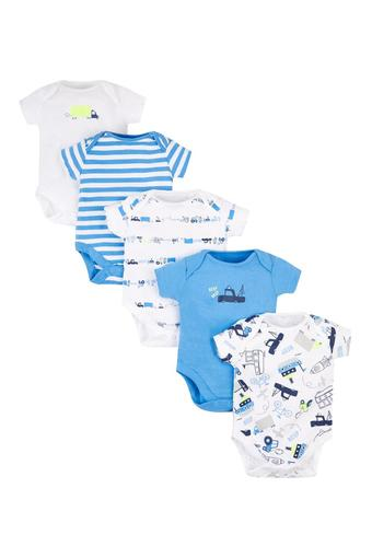 Boys Envelope Neck Printed and Striped Babysuits - Pack Of 5