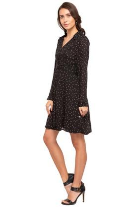 Womens Collared Printed Shirt Dress