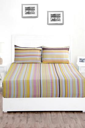 Superfine Cotton Multi Bright Double Bedsheet with 2 Pillow Covers - 210 TC