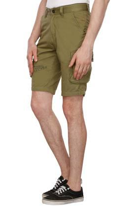Mens 7 Pocket Solid Cargo Shorts