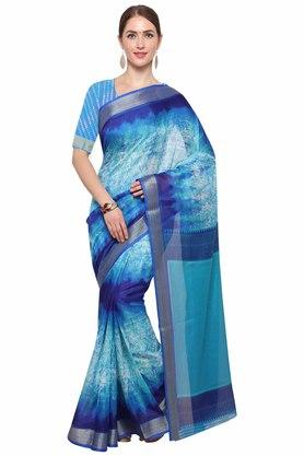 RACHNA Womens Color Cotton Blend Printed Saree With Blouse
