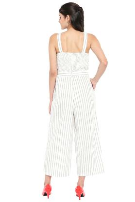 Womens Square Neck Striped Jumpsuit