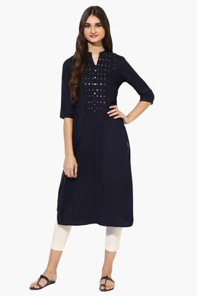 JUNIPER Womens Mirror Work Mandarin Collar Kurta