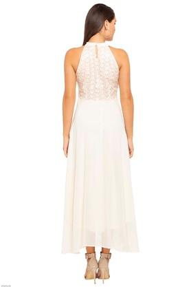Womens Halter Neck Embroidered Maxi Dress
