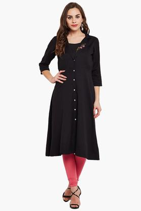 ARAHWomen A Line Placement Embroidered Dress
