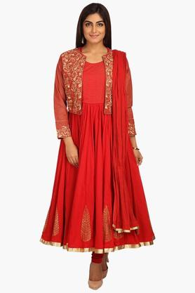 BIBA Womens Round Neck Solid Embroidered Churidar Suit With Koti