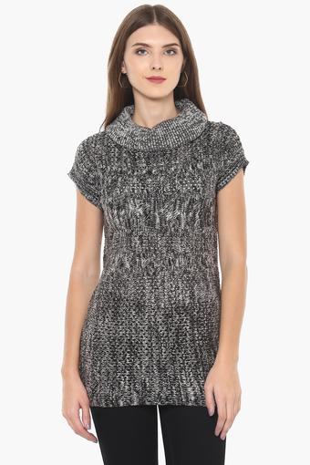 Womens High Neck Slub Pullover