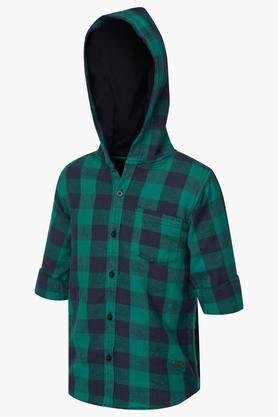 Boys Hooded Check Shirt