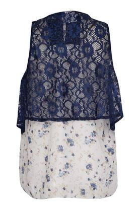 Girls Square Neck Printed Top With Attached Shrug
