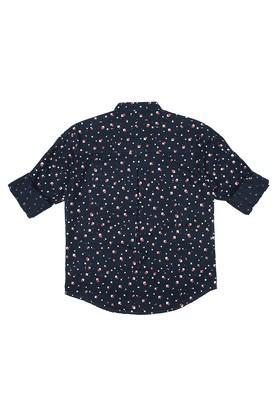 Boys Band Collar Printed Shirt