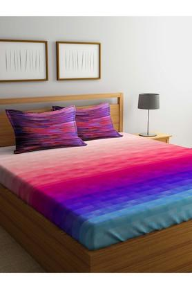 PORTICO Colour Block Double Bed Sheet With Pillow Cover