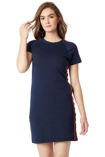 Womens Round Neck Solid T-Shirt Dress