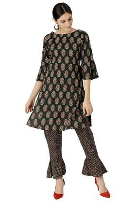 Womens Rayon Block Print Kurta With Trouser