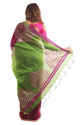Women Embroidery with Mirror work Saree