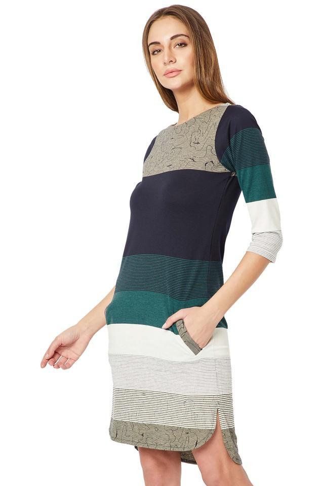 Womens Round Neck Colour Block Shift Dress