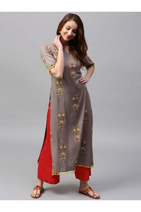 Women Rayon Printed Straight Kurta