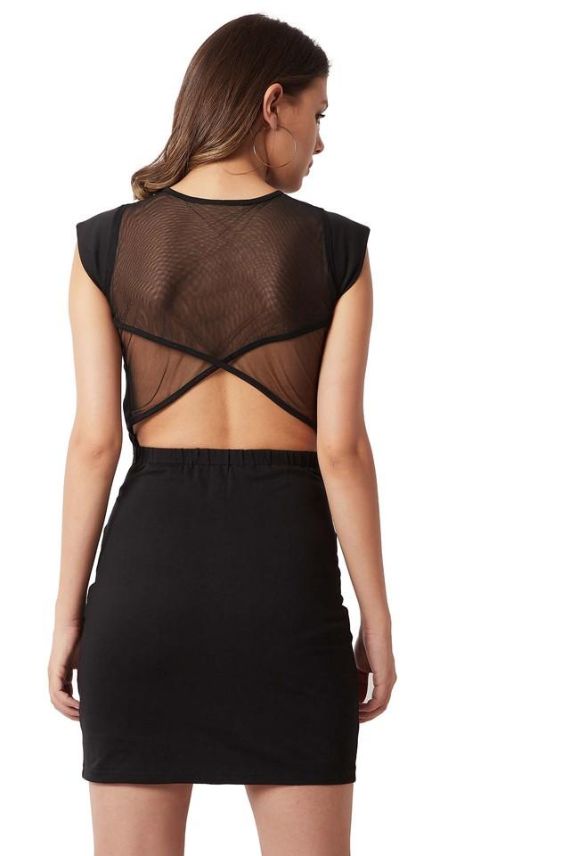 Womens Slim Fit Round Neck Solid Sheer Back Bodycon Dress