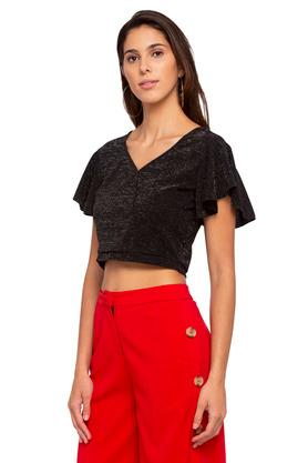 Womens V Neck Shimmer Top