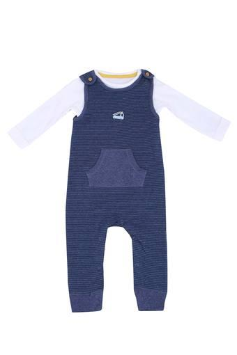 Kids Round Neck Striped Dungaree and Top set
