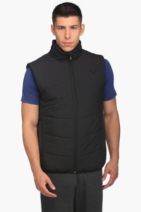 PUMAMens Zip Through Neck Solid Quilted Jacket