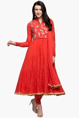 BIBA Womens Mandarin Neck Embroidered Anarkali Suit With Koti