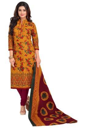 ISHINWomens Mandarin Neck Floral Dress Material