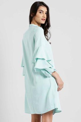 Womens High Neck Solid Shift Dress
