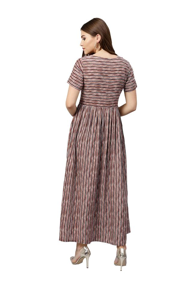 Womens Round Neck Striped Maxi Dress