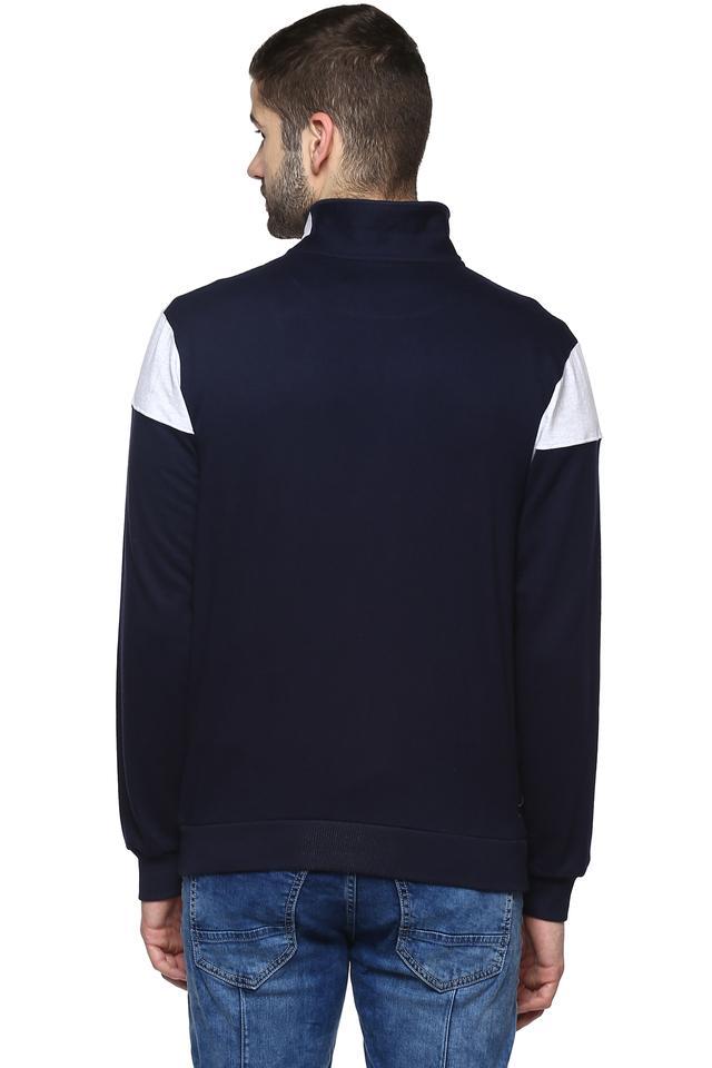 Mens Zip Through Neck Graphic Print Sweatshirt