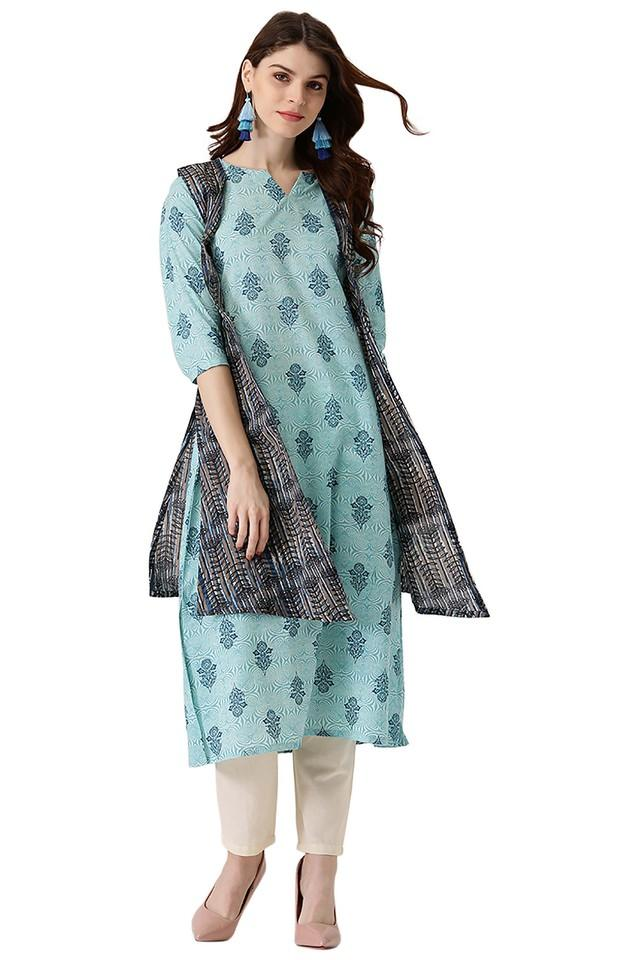 Womens Cotton Printed A-line Kurta With Ethinc Jacket