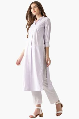 Womens Cotton Stripes Front Pocket Straight Kurta