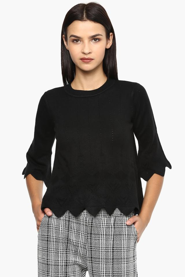 Womens Round Neck Perforated Sweater