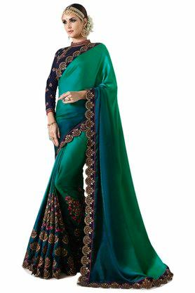 VRITIKA Womens Embroidered Saree With Blouse