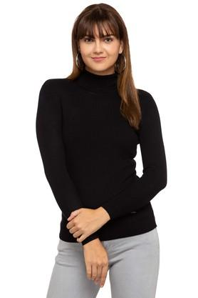 ELLE Womens High Neck Solid Sweater