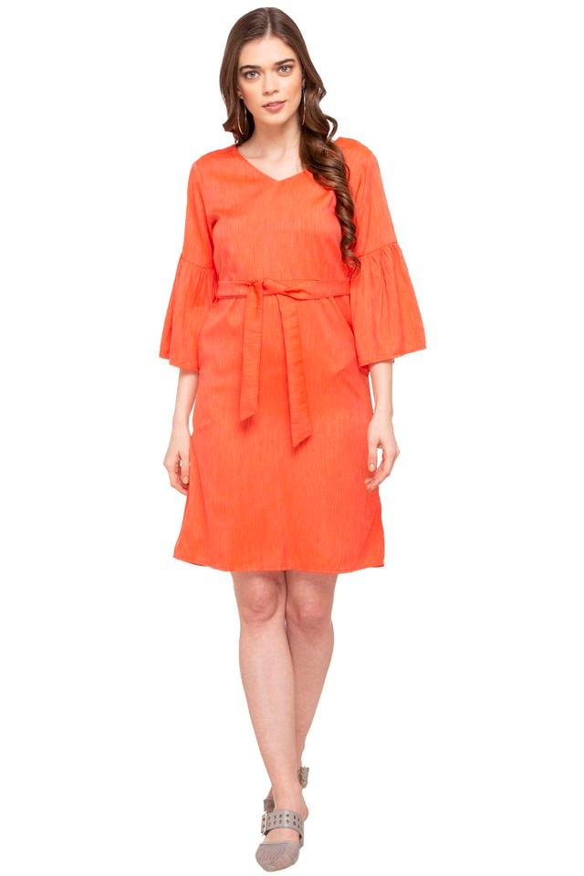 Womens V Neck Slub A-Line Dress