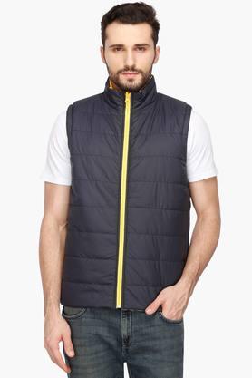 LIFEMens Zip Through Neck Solid Quilted Reversible Jacket