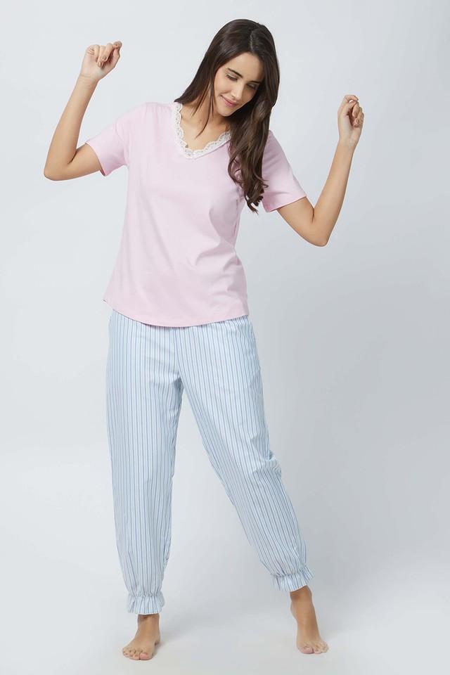 Womens V-Neck Solid Top and Striped Pyjama Set