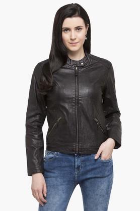 U.S. POLO ASSN.Womens Band Collar Solid Biker Jacket