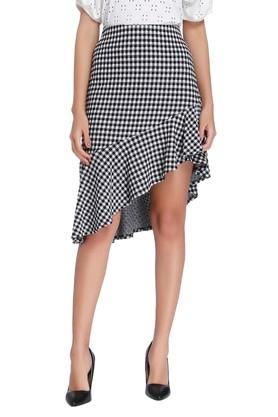 VERO MODA Womens Check Ruffled Asymmetrical Skirt