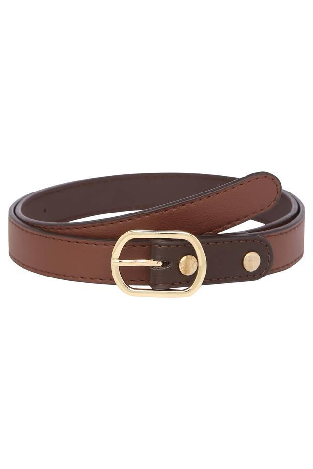 Womens Leather Buckle Closure Formal Belt