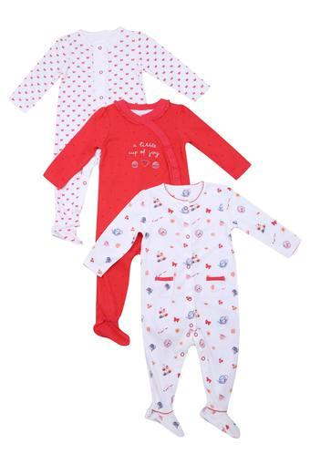 Girls Round Neck Printed Bodysuit Pack of 3