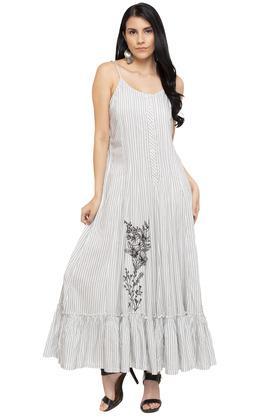 86a3e491ed85 X BIBA Womens Strappy Neck Stripe Maxi Dress