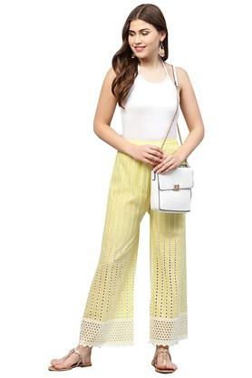Womens Embroidered Casual Palazzos