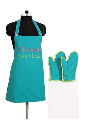 SWAYAMPrinted Adjustable Apron With Oven Mitts - Set Of 3 - 204599792_9307