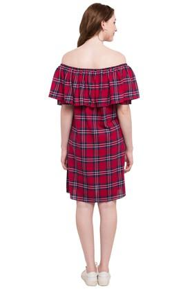 Womens Off Shoulder Check Knee Length Dress