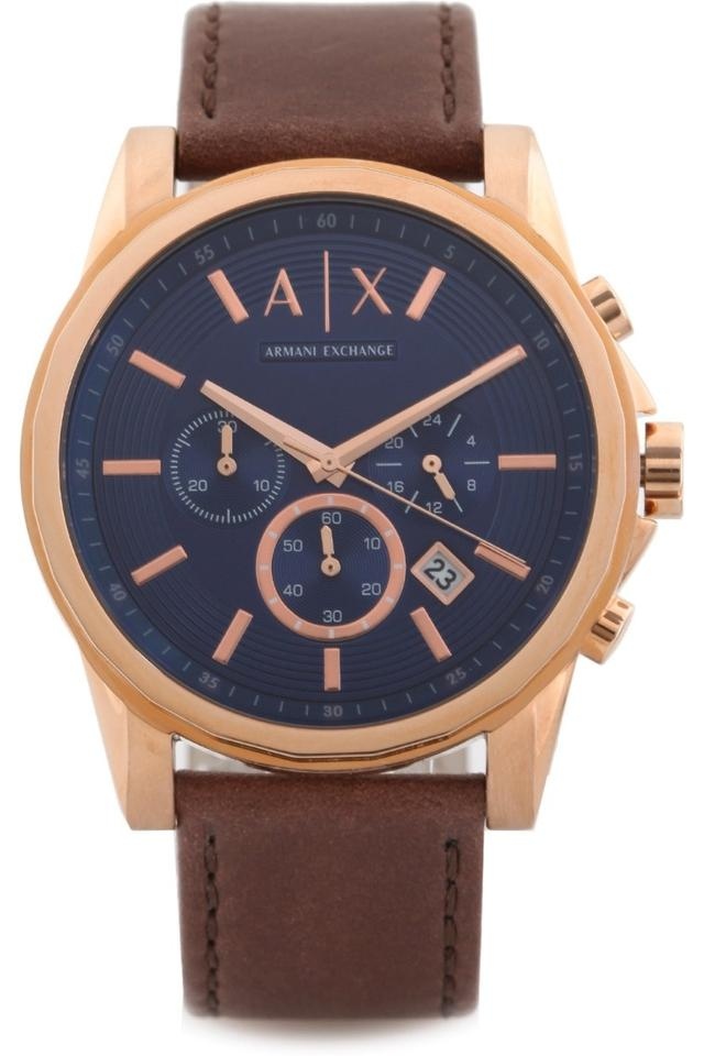 Mens Chronograph Leather Watch - AX2508