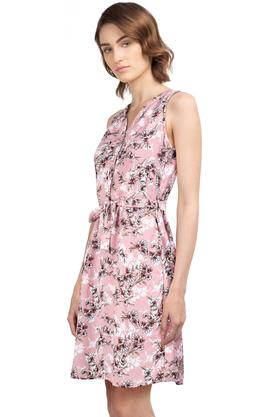 Womens Mandarin Collar Floral Printed Skater Dress