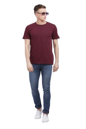 Mens Straight Fit Round Neck Solid T-Shirt