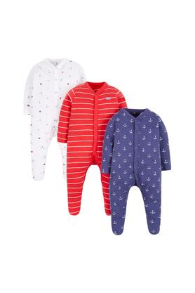 Boys Striped and Printed Sleepsuits - Pack Of 3
